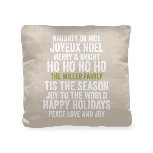 In Your Words Holiday Pillow, Cotton Weave, Pillow (Black), 18 x 18, Single-sided, Beige