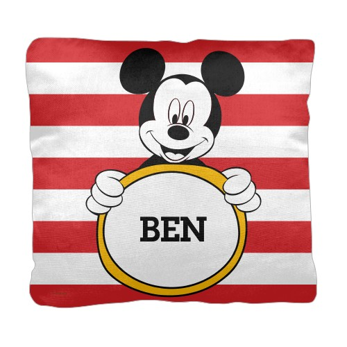 Disney Mickey Mouse Pillow, Cotton Weave, Pillow (Black), 18 x 18, Single-sided, Red