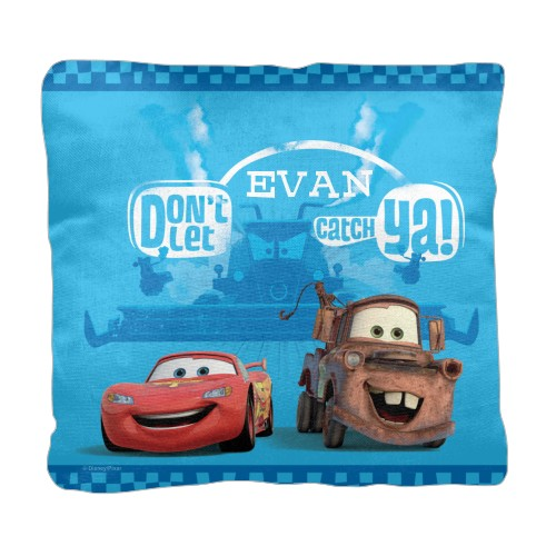 Disney Cars Mcqueen And Mater Pillow, Cotton Weave, Pillow (Black), 18 x 18, Single-sided, Blue
