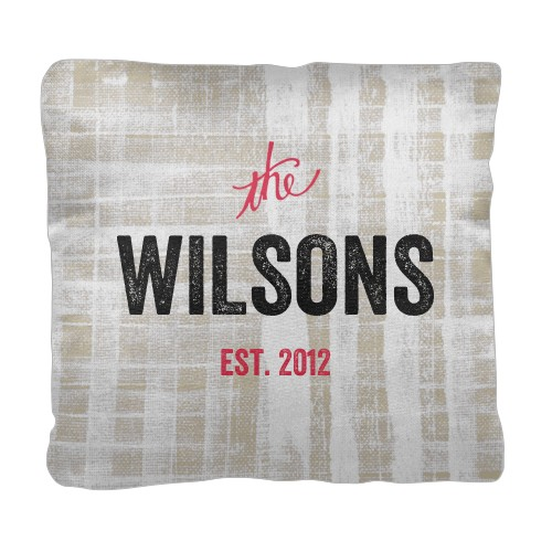 Rustic Family Name Pillow, Cotton Weave, Pillow, 18 x 18, Double-sided, Beige