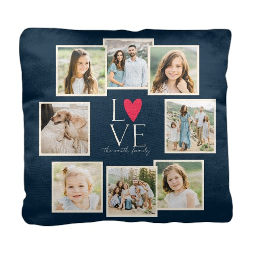 Love All Around Collage Pillow, Cotton Weave, Pillow (Ivory), 18 x 18, Single-sided, Black