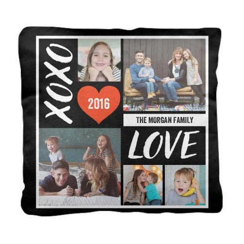 XOXO Love Grid Pillow, Cotton Weave, Pillow (Ivory), 18 x 18, Single-sided, DynamicColor