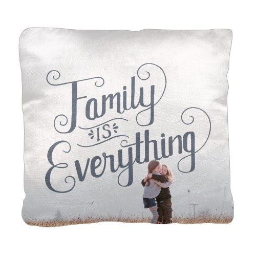 Family is Everything Pillow, Cotton Weave, Pillow (Black), 18 x 18, Single-sided, Grey