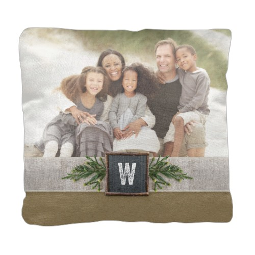 Holiday Fun Pillow, Cotton Weave, Pillow (Ivory), 18 x 18, Single-sided, Brown