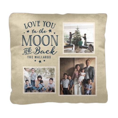 To the Moon and Back Script Pillow, Cotton Weave, Pillow, 18 x 18, Double-sided, Beige