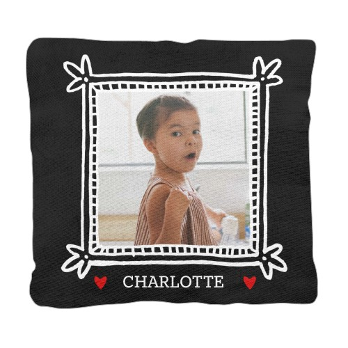 Doodle Heart Frame Pillow, Cotton Weave, Pillow (Ivory), 18 x 18, Single-sided, Black