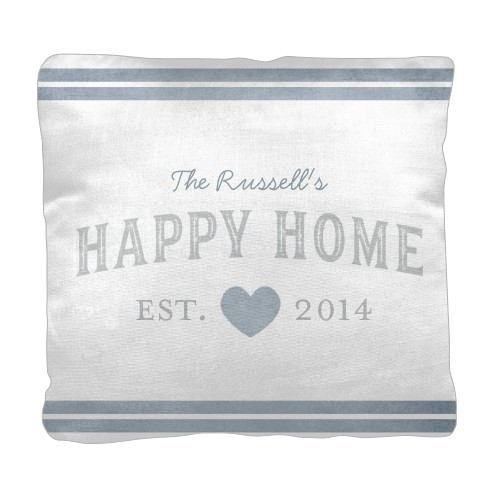 Happy Home Pillow, Cotton Weave, Pillow (Ivory), 18 x 18, Single-sided, Grey