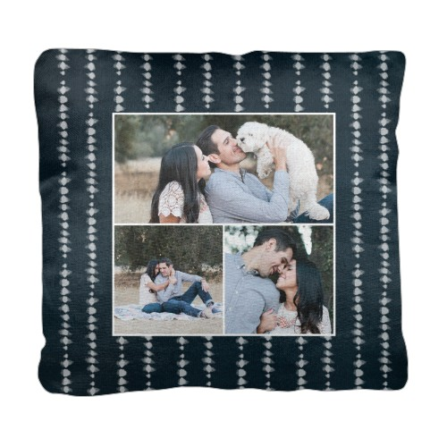 Shibori Stripe Pillow, Cotton Weave, Pillow (Ivory), 18 x 18, Single-sided, Blue