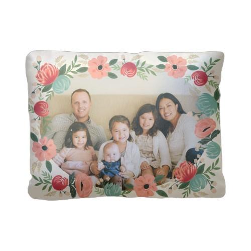 Hand Drawn Floral Pillow, Plush, Pillow (Plush), 12 x 16, Single-sided, Beige