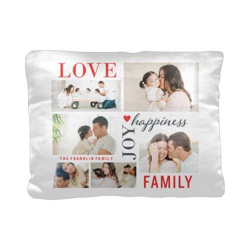 Love Joy Family Pillow, Cotton Weave, Pillow, 12 x 16, Double-sided, White