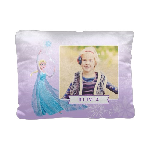 Disney Frozen Magic Pillow, Cotton Weave, Pillow (Ivory), 12 x 16, Single-sided, Purple