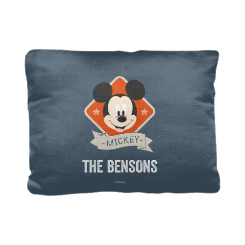 Disney Mickey Adventure Banner Pillow, Cotton Weave, Pillow (Ivory), 12 x 16, Single-sided, Blue
