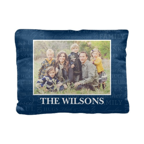So Thankful Pillow, Cotton Weave, Pillow (Black), 12 x 16, Single-sided, Blue