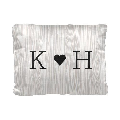 Woodgrain Initials Pillow, Cotton Weave, Pillow, 12 x 16, Double-sided, Beige