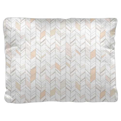 Natural Herringbone Pillow, Cotton Weave, Pillow, 18 x 24, Double-sided, White