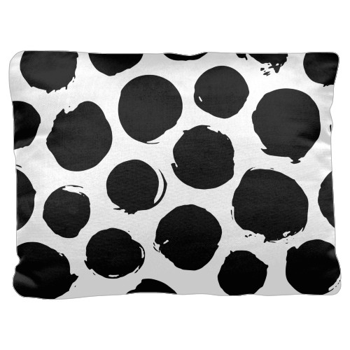 Large Dots Pillow, Cotton Weave, Pillow (Ivory), 18 x 24, Single-sided, White