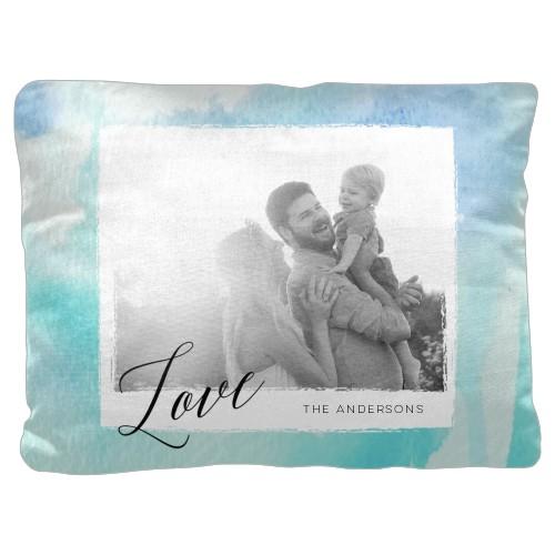 Blue Watercolor Pillow, Cotton Weave, Pillow (Black), 18 x 24, Single-sided, Blue