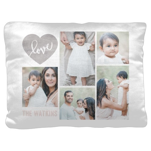 Love Wood Collage Pillow, Cotton Weave, Pillow, 18 x 24, Double-sided, Beige