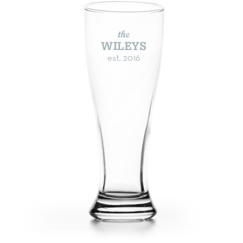 Framed Family Name Pilsner Glass, Glass, Pilsner Glass Single Side, Clear Glass, White