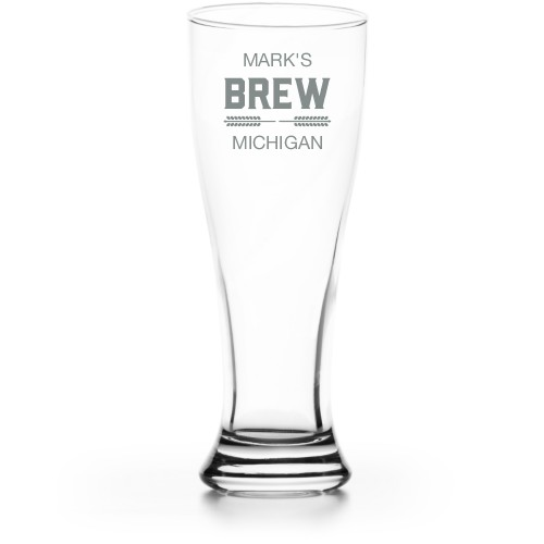 Brew Banner Pilsner Glass, Glass, Pilsner Glass Double Side, Clear Glass, White