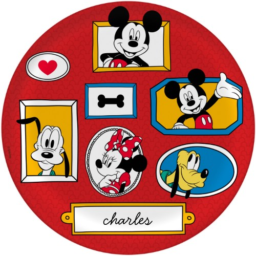 Disney Mickey And Friends Plate, 10x10 Plate, Red