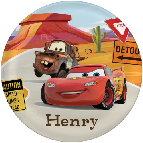 Disney Cars Mcqueen And Mater Plate, 10x10 Plate, Red