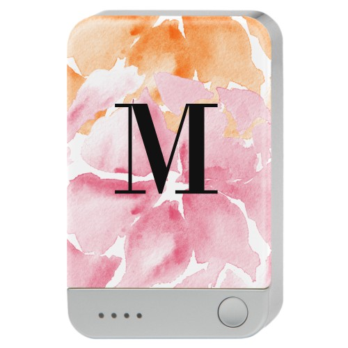 Floral Monogram Portable Charger, Portable Charger, Pink