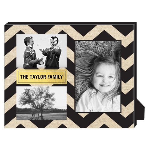 Chevron Frame Personalized Frame, - No photo insert, 8 x 10 Personalized Frame, Black