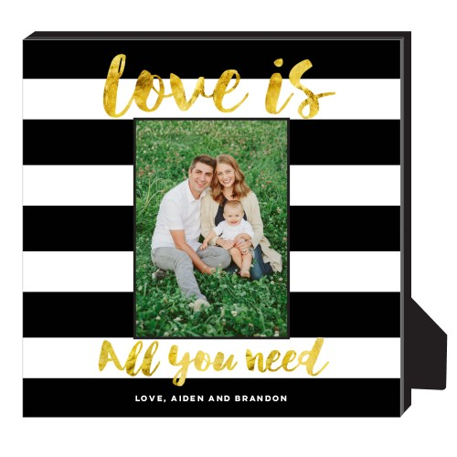 Love Stripes Personalized Frame, - No photo insert, 11.5 x 11.5 Personalized Frame, Black