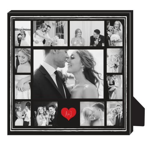 heart initials border collage personalized photo frames