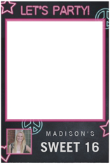 neon lets party selfie frame