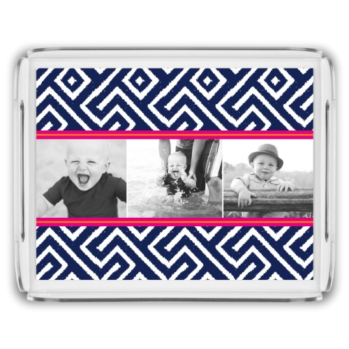 Lively Stripes Serving Tray, 11.5x9 Inches, Blue
