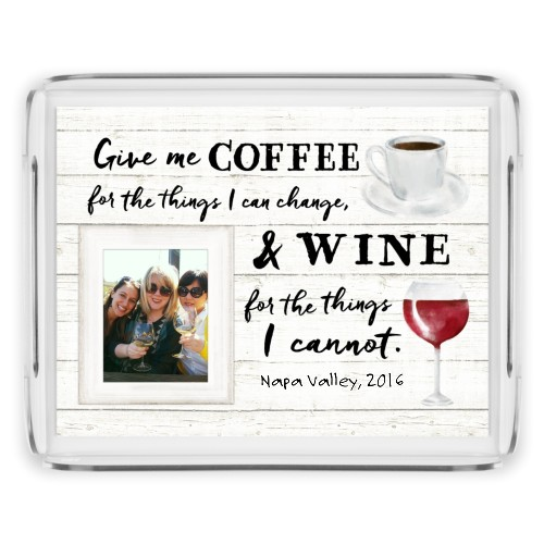 Coffee and Wine Serving Tray, 11.5x9 Inches, Beige