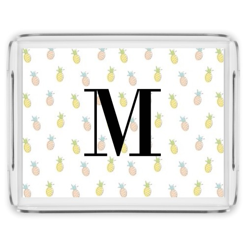Monogram Pattern Serving Tray, 17x13 Inches, Multicolor