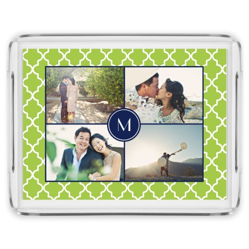 Lantern Print Monogram Serving Tray, 17x13 Inches, DynamicColor