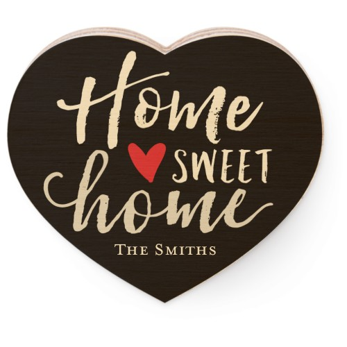 Home Sweet Home Wooden Magnet, Heart, Black