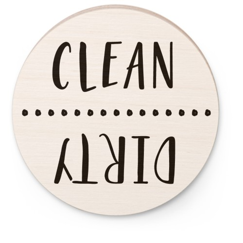 Clean Dirty Wooden Magnet