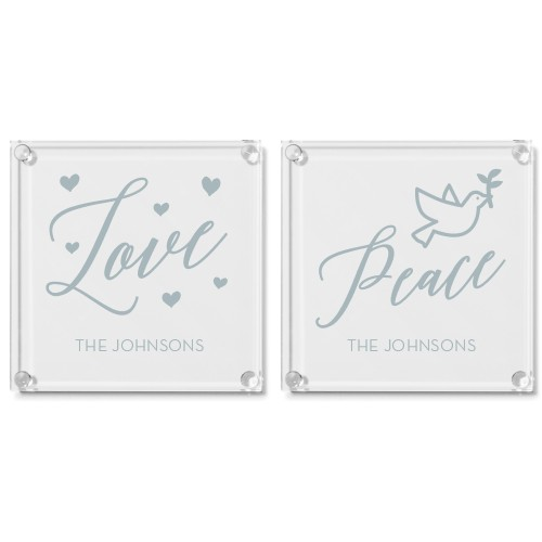 Faith Love Peace Glass Coaster, Set of 2, White