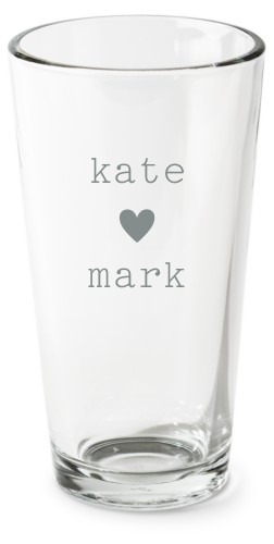 Perfect Pair Heart Pint Glass, Set of 1, White