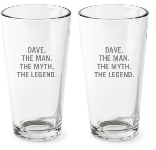 The Man Pint Glass, Set of 2, White