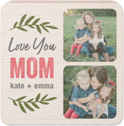 Love Mom Foliage Wooden Magnet, Square, Brown
