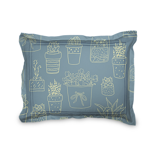 Blue and Green Succulents Sham, Sham, Sham w/ Black Lantern Back, Standard, Multicolor