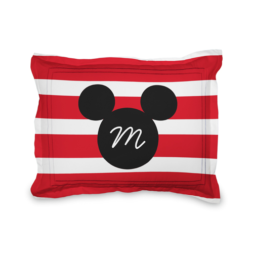 Disney Mickey Mouse Stripe Sham, Sham, Sham w/ Black Lantern Back, Standard, Red