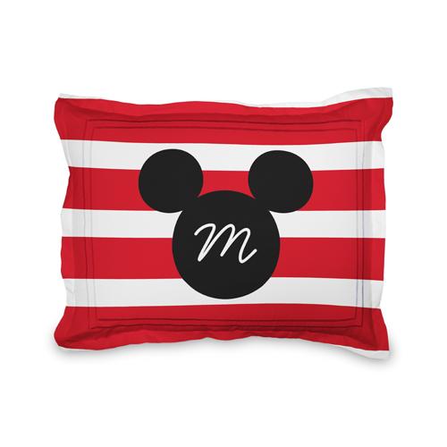 Disney Mickey Mouse Stripe Sham, Sham, Sham w/ Grey Damask Back, Standard, Red