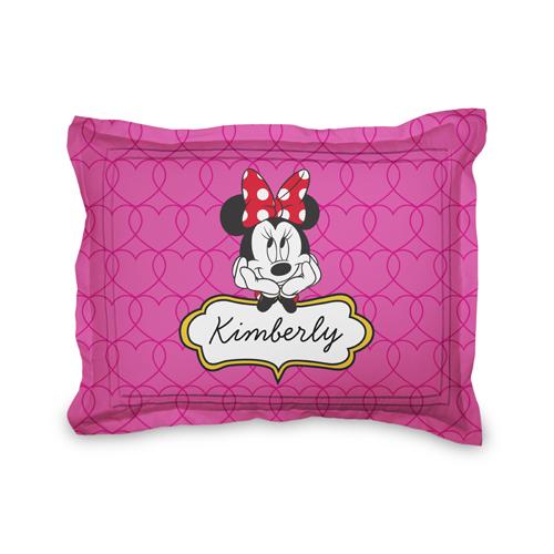 Disney Minnie Mouse Hearts Sham, Sham, Sham w/ Taupe Ticking Stripe Back, Standard, Pink