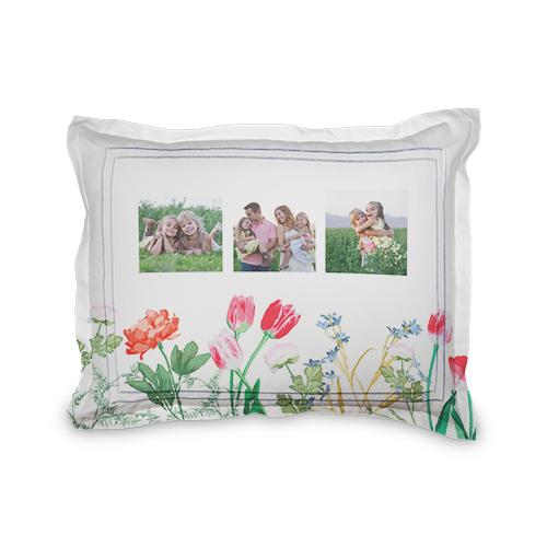 Spring Floral Sham, Sham, Sham w/ White Back, Standard, White
