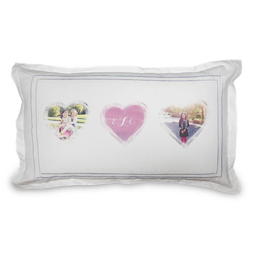 Brushed Heart Watercolor Sham, Sham, Sham w/ Black Lantern Back, King, White