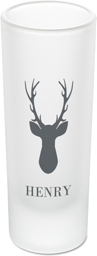 Deer Silhouette Shot Glass, Grey