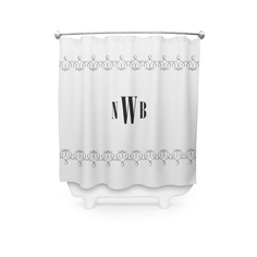 stylized border monogram shower curtain