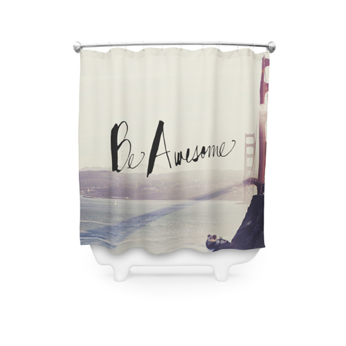 Be Awesome Shower Curtain, Black